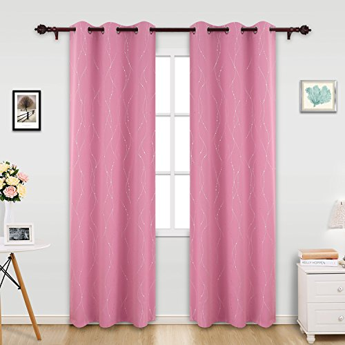 Deconovo Printed Pink Blackout Curtains Wave Line with Dots Light Blocking Curtains for Girls Room 42 x 95 Inch Baby Pink 2 - Glasses Pink Black Girl