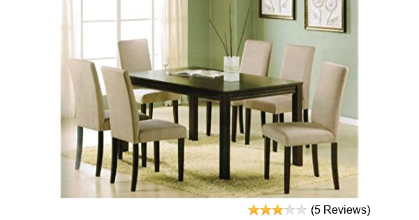 7pc Dining Table Set - Contemporary Espresso Finish with Solid Wood Top
