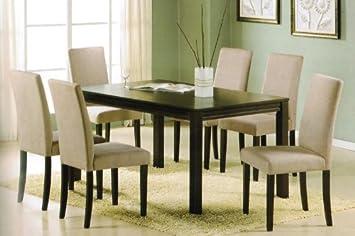 Amazon.com - 7pc Dining Table Set - Contemporary Espresso Finish ...