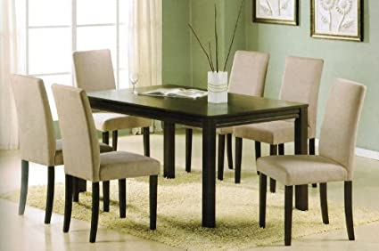 7pc Dining Table Set   Contemporary Espresso Finish With Solid Wood Top