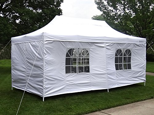 GigaTent The Party Tent Canopy Gazebo Deluxe 10 X 20-feet with Removable sidewalls Heavy Duty (White) Use for: Party, Wedding, Beach, Outdoor Events, Pavilion Cater Event