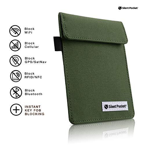 Silent Pocket Signal Blocking Faraday Key Fob Case - Car Anti Theft Device Shielding Against All Signal Types, Including RFID Blocking & Durable Faraday Bag, Fits Most Car Keyfobs (Olive, X-Small)
