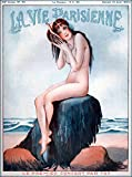 vintage advertisement - 1920s La Vie Parisienne Nude Girl listening to Seashell La Premier Concert French Nouveau from Magazine France Travel Advertisement Picture Art Collectible Wall Decor Poster .Measures 10x13.5 inches.
