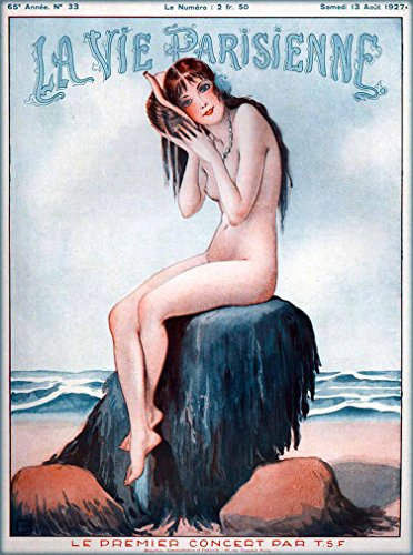 nne Nude Girl listening to Seashell La Premier Concert French Nouveau from Magazine France Travel Advertisement Picture Art Collectible Wall Decor Poster .Measures 10x13.5 inches. ()