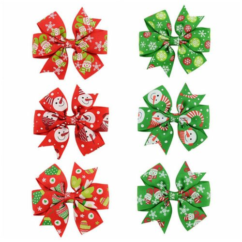 Starbucks Diy Costume (VIPASNAM-6Pcs Girl Christmas Holiday Gift Snowflake Ribbon Hair Bows Clip Girl Hairpin NJ)