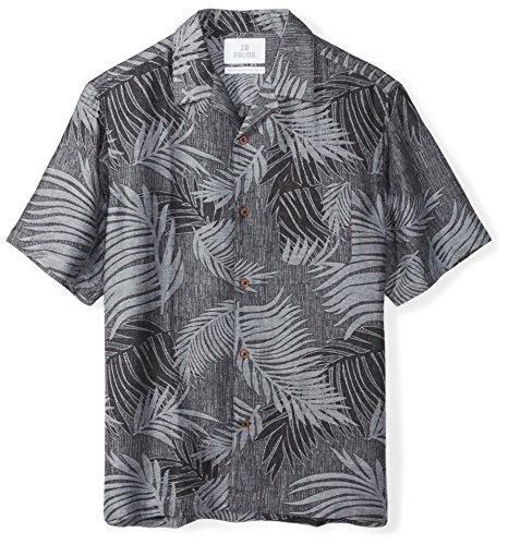 28 Palms Men's Relaxed-Fit Silk/Linen Tropical Leaves Jacquard Shirt, Black, X-Large