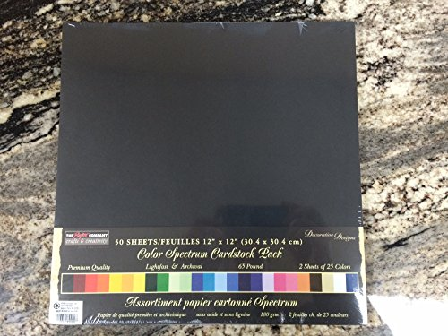 12x12 Color Spectrum Cardstock Paper Multicolor 50 Sheets(25 Colors with 2 Sheets of Each Color) Archiver's Scrapbook