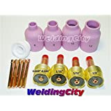 """Large Diameter Gas Lens Accessory Kit 0.020""""-1/8"""" for TIG Welding Torch 17/18/26"""