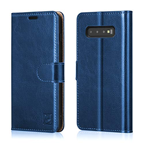 Belemay Samsung Galaxy S10 Wallet Case, Genuine Cowhide Leather Flip Case, Folio Book Cover, Card Holder Slots, Cash Pockets, Kickstand, Magnetic Closure Compatible Samsung Galaxy S10, Blue