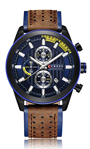 Amazon.com: Mens Military Sport Watches Date Multi-Function Wristwatch Reloj Hombre Mens Quartz Leather Strap: Watches