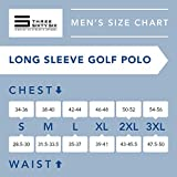 Three Sixty Six Men's Dry Fit Long Sleeve Polo Golf Shirt, Moisture Wicking, UPF 30 and 4 Way Stretch Navy Blue
