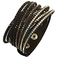 LUNA Premium Crystal Slake Bracelet with Beautiful Elements, Button Clamp (One Size / Various Kind)