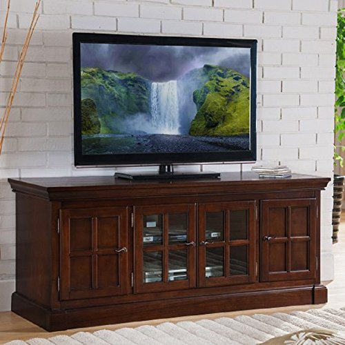"""60 inches Media Stand / TV Console Table, Holds Flat Panelled TV up to 65"""" Wide, 4 Doors w/ Adjustable Interior Shelves, Glass Panelled Front Doors, Cable Management, 20W x 60D x 25H in. + Free Ebook"""