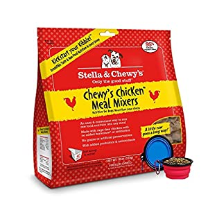 Stella & Chewy's Freeze Dried Dog Food,Snacks Super Meal Mixers 18-ounce Bag With Free Bonus Hot Spot Pets Food Bowl - Made in USA (Chicken)