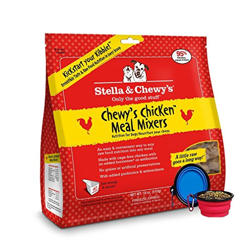 Stella & Chewy's Freeze Dried Dog Food,Snacks Super Meal Mixers 18-ounce Bag With Free Bonus Hot Spot Pets Food Bowl – Made in USA (Chicken)