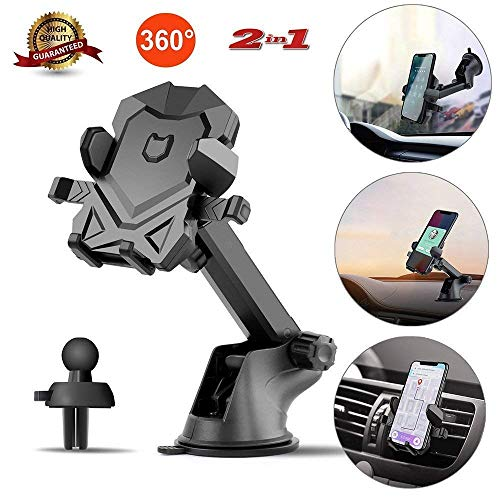 Car-Phone-Mount-Washable-Dashboard Cell Phone Holder with One-Touch Design, Air Vent Car Phone Holder Compatible for iPhone 6 6plus 7 7plus 8 8plus X Samsung Galaxy S9 S8 More by pipigo (Best Car Dashboard Design)