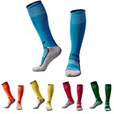 Soccer Socks for Boys Girls 5 Pack (Blue/Orange / Yellow/Rose Red/Dark Green)