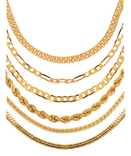 AanyaCentric Gold Plated Brass Necklace for Unisex – Adult's & Child's (Pack of 6)