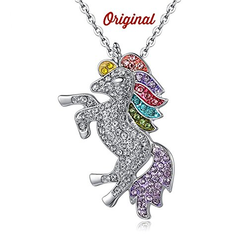 Persona Model Agency Unicorn Necklace - Rainbow Unicorn Necklace - Sterling Silver with Swarovski Elements by Persona Model Agency