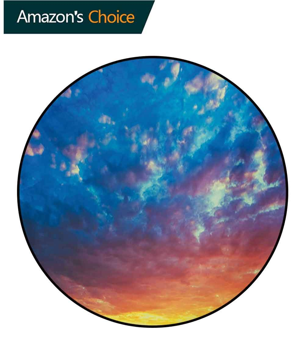Yellow and Blue Modern Machine Washable Round Bath Mat,Dramatic Sky Sunset Scenic Cloudscape Idyllic Twilight Eco Picture Non-Slip Living Room Soft Floor Mat,Diameter-59 Inch