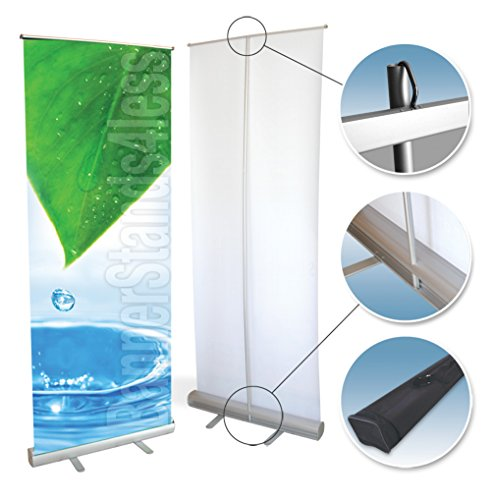 33x79 Retractable Banner Stand Roll Up Trade Show Display, Free Banner Printing -