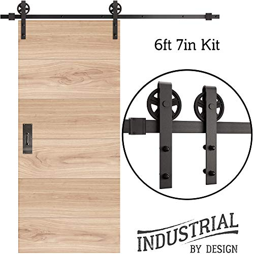 INDUSTRIAL BY DESIGN - 6ft 7in Single Sliding Barn Door Hardware Kit (Spoke Wheel) - Ultra Quiet, Designers Choice, All Parts Included, Easy Installation with DIY Video Instructions