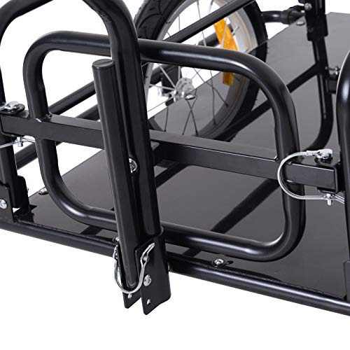 Bike Cargo Storage Cart and Luggage Trailer with Hitch Folding Bicycle Black by Caraya (Image #8)