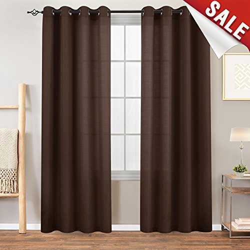 - Privacy Semi Sheer Curtains for Bedroom 84 inches Length Privacy Casual Weave Linen Textured Window Curtain Panels for Living Room 2 Pcs Brown