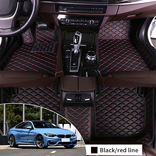 Leather Floor Mats Fit for BMW M4 F82 2014-2017 Coupe 4 Seats Full Protection Car Accessories Black & Red 3 Piece Set
