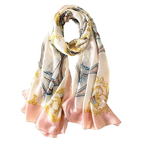 Large Beige Satin - 100% Silk Scarf - Women's Fashion Large Sunscreen Shawls Wraps - Lightweight Floral Pattern Satin for Headscarf&Neck (Sailboat)