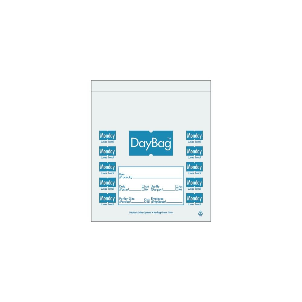 "DayMark 113013 5-1/2"" Day of the Week Monday Portion Bag - 2000 / BX"
