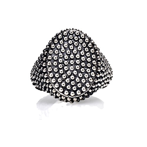 SEVEN50 Made in Italy New Uniquely Fabulous Genuine .925 Sterling Silver Dotted Oval Signet Ring Equipped with an Utterly Fascinating Design