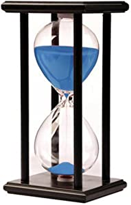 Hourglass Timer for 60 Minutes Sandglass Timer for Kitchen Living Room Home Office Desk Bedroom Party Festival Coffee Table Book Shelf School Game Sand Timer Clock (black frame blue sand)