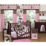 Sweet Jojo Designs Pink and Chocolate Brown Teddy Bear Baby Girls Bedding 9pc Crib Set