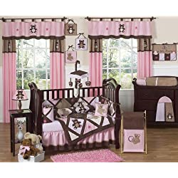 Sweet Jojo Designs Pink and Chocolate Brown Teddy Bear Baby Girls Bedding 9 piece Crib Set