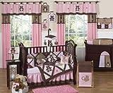 Sweet Jojo Designs Pink and Chocolate Brown Teddy Bear Baby Girls Bedding 9pc Crib Set