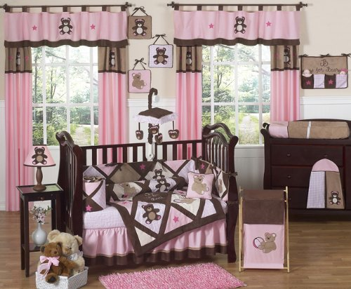 Sweet Jojo Designs Pink and Chocolate Teddy Bear Musical Baby Crib Mobile