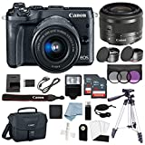 Cheap Canon EOS M6 Digital Camera (Black) with EF-M 15–45mm f/3.5–6.3 is STM Lens + Deluxe Accessory Bundle – Includes Everything You Need to Get Started
