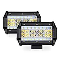 "MICTUNING 5"" Quad-Row LED Pods Off road LED Light Bar - 4200LM Philips Spot Flood Combo Beam Work Light Driving Fog Lamps for Jeep SUV ATV UTV Truck Boat (2 Packs)"