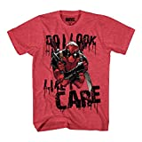 Marvel Deadpool Do I Look I Care Mens T-Shirt (XXL, Heather Red)