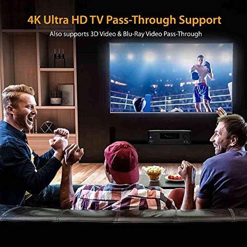 5.2-Channel Hi-Fi Bluetooth Stereo Amplifier – 1000 Watt AV Home Speaker Subwoofer Sound Receiver W/ Radio, USB, RCA, HDMI, Mic In, Wireless Streaming, Supports 4K UHD TV, 3D, Blu-Ray – Pyle PT694BT 51ggS7VrILL