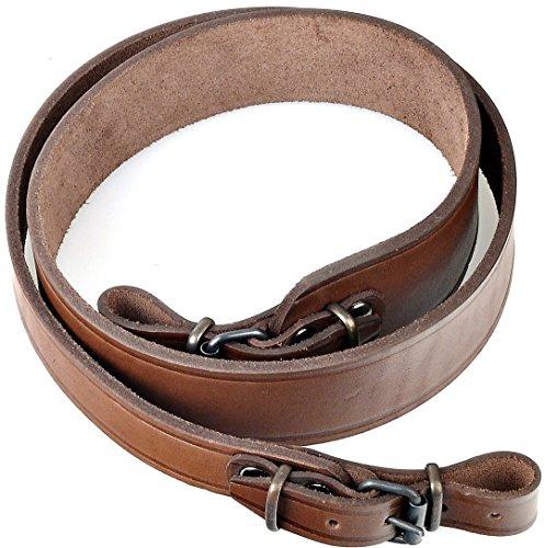Brown Leather Shoulder Adjustable Gun Strap Shotgun Sling Cord for Hunting Camping Outdoors Shooting ()