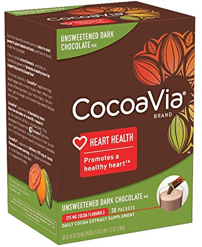 - CocoaVia Unsweetened Dark Chocolate, 375 mg, 30 Count