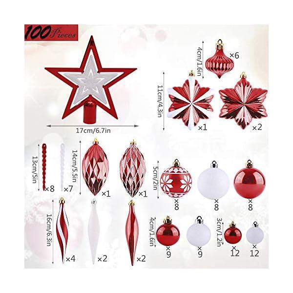 Valery Madelyn Palle di Natale 100 Pezzi di Palline di Natale, 3-5 cm Decorazione Tradizionale Rossa e Bianca Infrangibile con Palle di Natale per la Decorazione Dell'Albero di Natale 2 spesavip
