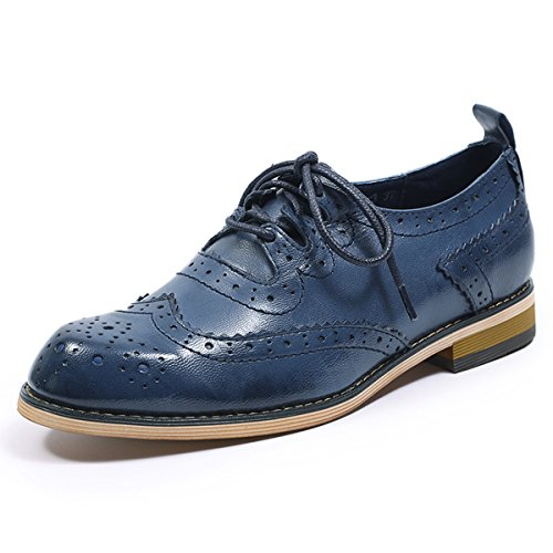 Mona flying Womens Leather Perforated Brogue Wingtip Derby Saddle Oxfords Shoes for Womens ladis Girls
