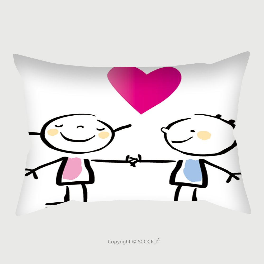 Custom Satin Pillowcase Protector Valentine S Day Two People In Love Holding Hands Cartoon Children S Drawing Style Series See More 68546989 Pillow Case Covers Decorative