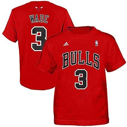 adidas Chicago Bulls Dwyane Wade  3 Toddler Kids Red Name and Number Shirt  M 5 eb204f2fa