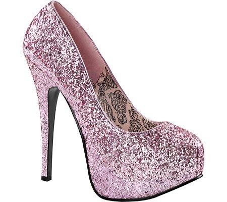 Women's Baby Pink Glitter Teeze Platform Pumps - DeluxeAdultCostumes.com