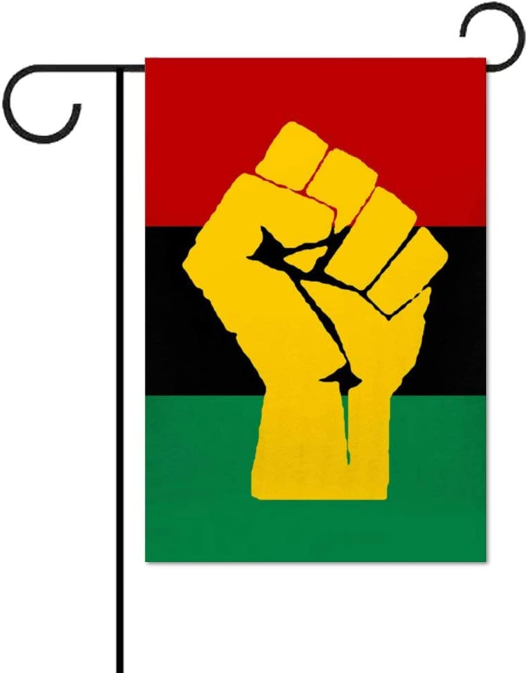 LANGWEILIG BR Black Power Pan African Flag Welcome Garden Flag Decoration,Vertical Double Sided Yard Flag Patio Garden Flags Outdoor 12.5 X 18 Inches
