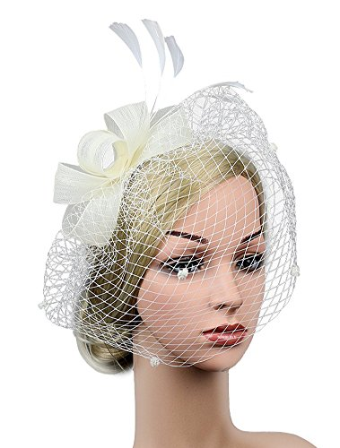 (Urban CoCo Women's Vintage Flower Feather Mesh Net Fascinator Hair Clip Hat Party Wedding (Series)